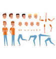 young man character constructor with body parts vector image