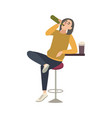 young man sitting on stool at bar and drinking vector image vector image