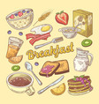 hand drawn breakfast doodle with toasts vector image