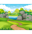 Nature scene with hiking track and lake vector image