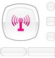 Radio white button vector image