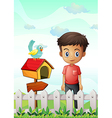 A boy near the pethouse with a bird and a wooden vector image