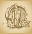 barrel wine cheese and grapes sketch pictures vector image