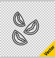 black line tomato icon isolated on transparent vector image vector image