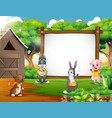 cartoon easter backround with farm animal vector image vector image
