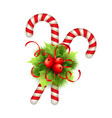 Christmas decoration with holly leaves bow and vector image vector image