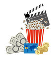 color clipper board pop corn and money icon vector image vector image