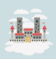 colorful castle of fairy tales in sky surrounded vector image