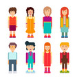 colorful set of characters in flat design vector image