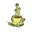 Cup of hot herbal tea and leaves vector image vector image