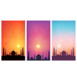 dark mosque silhouette on colorful sunset sky vector image vector image