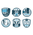 electronic device retro badge digital gadget vector image