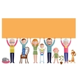 Family With Banner Flat Design vector image vector image