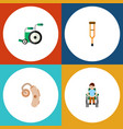 flat icon cripple set of disabled person stand vector image vector image