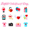 flat with love icons vector image vector image