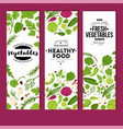 fresh vegetables and healthy food banners organic vector image