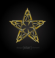 futuristic Gold Abstract star on black background vector image vector image