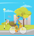 girl on bicycle and boy playing with quadrocopter vector image