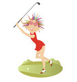 good day for playing golf for young woman vector image vector image
