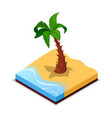 green palm tree on beach isometric 3d icon vector image vector image