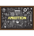 Hand drawn ambition on chalkboard vector image vector image