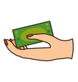 hand human with bill money dollar isolated icon vector image vector image