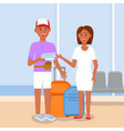 happy young couple with bag on terminal background vector image vector image