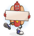 hot dog cartoon character holding a sign vector image vector image