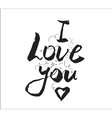 I love you inscription Greeting card with vector image vector image