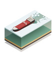 icebreaker ship afloat isometric model vector image vector image