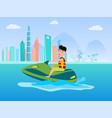 jet ski summer activity at sea man in life-jacket vector image vector image