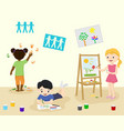 kids in kindergarden draw and paint in art class vector image