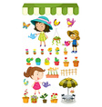 Kids watering the plants vector image vector image
