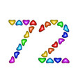 number 72 seventy two of colorful hearts on white vector image vector image