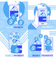 online mobile nfc payment money transfer banners vector image