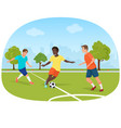 people playing football in field stadium vector image
