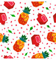 pineapple and pomegranate seamless pattern vector image vector image