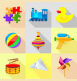 plaything icons set cartoon style vector image