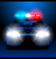 police car in night with lights in frontal view vector image