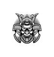 samurai oni mask japan silhouette vector image