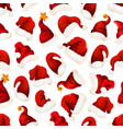 santa red hats christmas seamless pattern vector image vector image