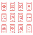 set mobile phone icons in thin line style vector image vector image