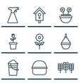 set of 9 plant icons includes package bucket vector image