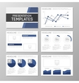 Set of blue template for multipurpose presentation vector image
