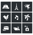 Set of France Icons Army Paris Eiffel vector image vector image