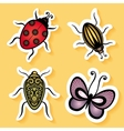 Set of Stickers with Ornamental Insects vector image