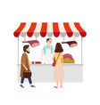 street food meat market talls canopy and products vector image