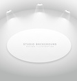 studio room with oval picture frame vector image vector image