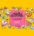 summer camp 2019 for kids creative and colorful vector image vector image