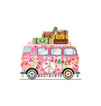 vintage hippie van a colorful car decorated with vector image